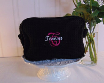 5 Bridesmaid Waffle Cosmetic Bags- Personalized with Name or Monogram- Bridesmaid Gifts