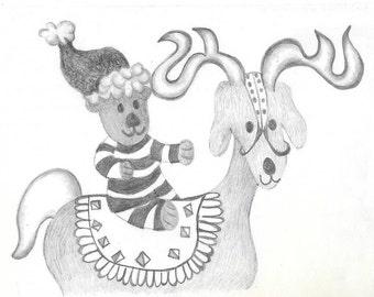 Teddy Bear and Reindeer Christmas Card