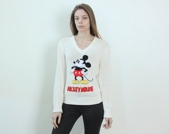 80s Embroidered Mickey Mouse Sweater // Vintage Pullover Jumper White Disney 1980s Womens - Small to Medium