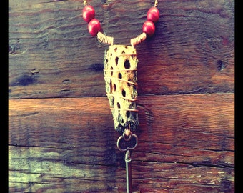 Cholla necklace - skeleton key - bone skull - red beads - boho - hippie - cactus - handmade - unique - joshua tree - desert - repurposed
