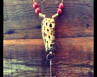 Cholla necklace - skeleton key - bone skull - red beads - boho - hippie - cactus - handmade - unique - joshua tree - desert - repurposed