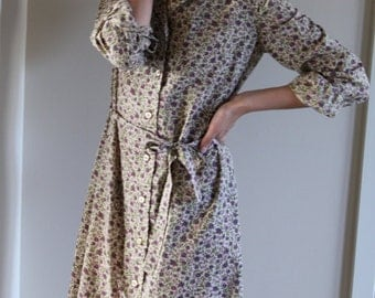 Beautiful Button-Down Floral Cotton Dress w/ Tie Belt- Size Small