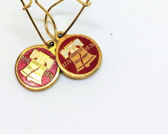 Bicentennial US 1776 1976 Enamel Libery Bell Earrings Red Gold 1 inch Pierced Dangle Collectible