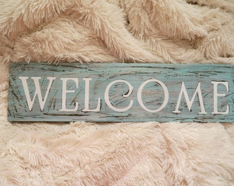 """Distressed Wooden 'Welcome' Sign- 6""""x22"""""""
