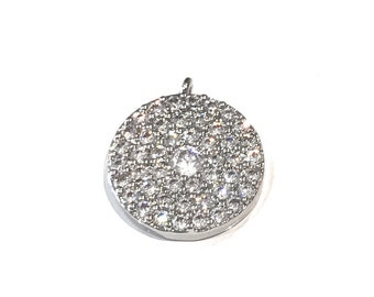 Silver Disc Charm, Pave Disc Charm, Disc Charm, Coin Charm, Jewelry Making Supplies, DIY Jewelry , Micro pave Disc Charm, Jewelry Supplies
