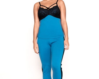 Blue and Black Pajama Pant Set- Caged Top with Tuxedo Pants