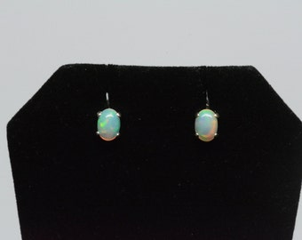 opal stud earrings ,Sterling silver,Etiopian welo opal, natural opal earrings,7X5 Cabochon, October bithstone