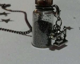Miniature Bottle w/ Cork Sewing Machine Charm Necklace