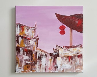 Traditional China [Feng Huang Ancient City ed.] 10x10 in. original palette knife acrylic painting on canvas