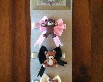 Teddy Bear and Bow Hair Clips (Set of three)