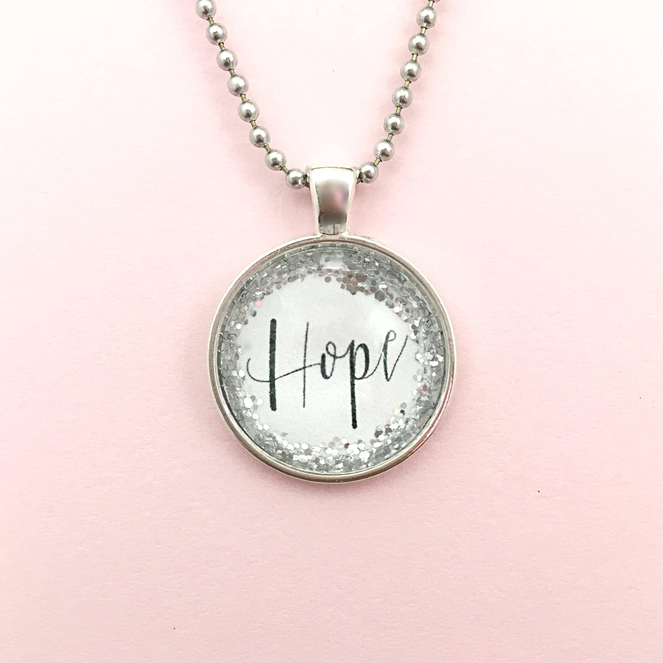 Hope round pendant or custom necklace quote necklace word hope round pendant or custom necklace quote necklace word necklace boho necklace glitter necklace personalized gift keyring aloadofball Image collections