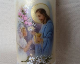 "First Holy Communion Candle - girl - (blue) 6""H x 2.5""W"