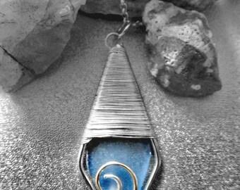 Blue / Purple Sea glass necklace - seaglass necklace - sea glass jewelry - seaglass jewelry - beach glass jewelry - beach glass necklace