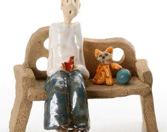 Unusual and Quirky Gift For a Cat Lover | Ginger Cat with a Blue Ball | Boy sitting on the Bench | Red Bird | Hand Made Quirky Ornament