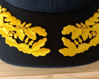 O-7 to O-11 Officer Scrambled Eggs, 1 pair Admiral eggs for Hat, Iron-on Patch, Self-Adhesive Embroidered Patch,  **FREE SHIPPING**