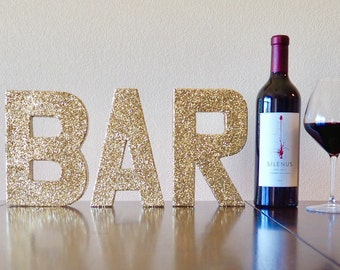 bar stand up letters double sided glitter letter wedding decor bar decoration party decor ships in 3 5 business days