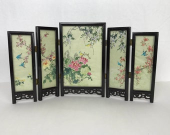Vintage Miniature Painted Silk Asian Chinoiserie Folding Screen