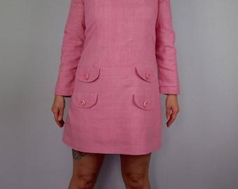 Bubblegum Pink Mod Mini Dress - 1960s Babydoll Dress