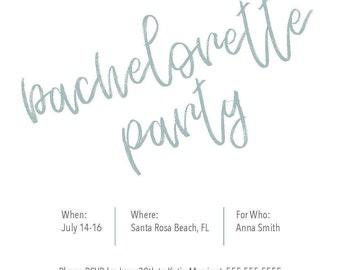 Bachelorette Invitation, Instant Download - Square