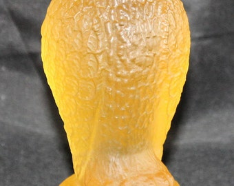 Mid Century Frosted Glass Wise Owl Figurine Paperweight