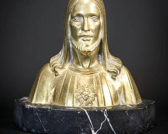 Stunning Antique Sacred Heart of Jesus Gilded Bronze Bust Signed Statue of Our Lord Christ on Marble base from the early 1900s 1