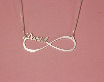 Infinity necklace with names sterling silver infinity name pendant