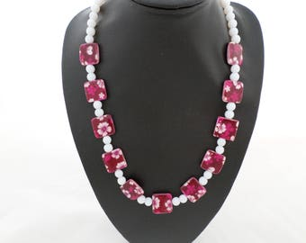 Necklace 'Pretty Pink' Floral Design