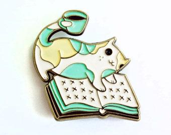 Pin Enamel Pin Cat + Book + Coffee ENAMEL PIN book pin cat enamel pin cat pin enamel pin feminist pin enamel cat pin enamel pin coffee pin