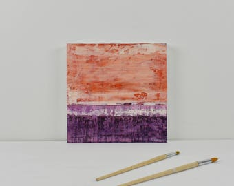 "ORIGINAL Abstract Painting on Wood 12"" Minimalist Landscape, GeoHorizon 117 by Lisa Carney, textured, colorfield, orange, purple, warm white"