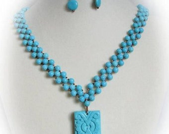 Aztec Necklace Set in Turquoise