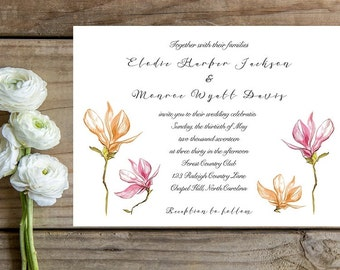 Romantic Wedding Invitation - Floral Wedding Invitations - Romantic Wedding Invitations - Wedding Invitations - Wedding Invitation