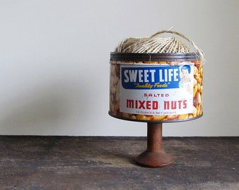 Repurposed Vintage Sweet Life Mixed Nuts Can and Textile Wood Spool Display Stand