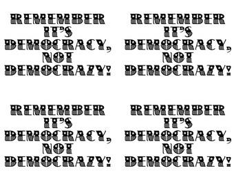 instant download postcard democracy not democrazy