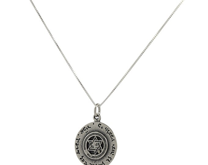 Handmade Priestly Blessing & Star of David 925 Sterling Silver Pendant and Necklace for Men and Women