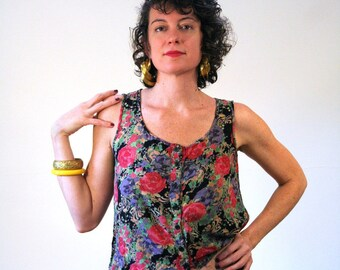 Angie's Garden, 90s Floral Top, Rayon Crop Top, India Boho Top, Floral Cut Off Top, Floral Rayon Blouse, Boho India Top, S M