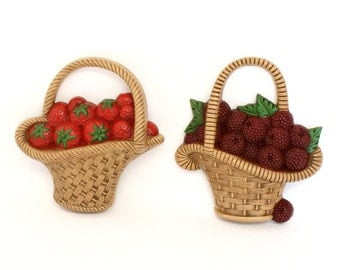 Pair of Berry Basket Wall Plaques by Burwood 1985