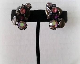 Austria Vintage Earrings Pink Purple Rhinestones in Bronz tone leaves, clip on 1950s