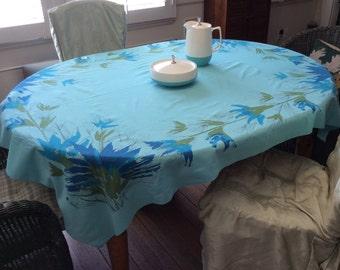 Vintage Vera Tablecloth Mod Blue Green Thistle