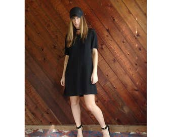 Black Woven Mini Babydoll Dress - Vintage 90s - M/L Petite