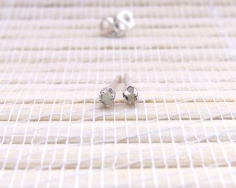 Rough Diamond Earrings White Grey Studs 3mm