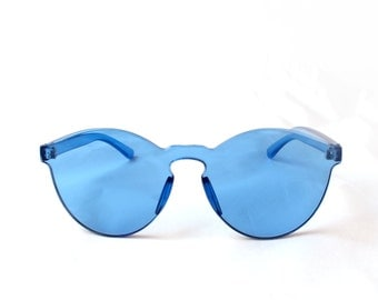 Crystal CLEAR BLUEBERRY Sunglasses By Kokorokoko Frameless Tinted
