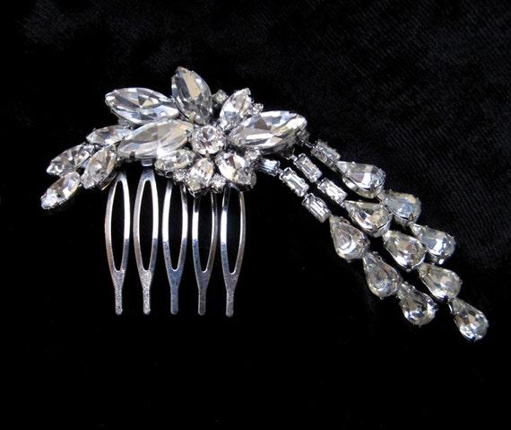 Vintage HAIR Comb HANDMADE Rhinestone Clip Barrette Pin 1960s Dangle Floral Jewelry Repurposed Accessories Wedding Bridal Small Crystal