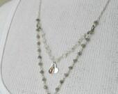 Moonstone, Labradorite, Welo Opal -- Minimalist Two Layer Gemstone Necklace