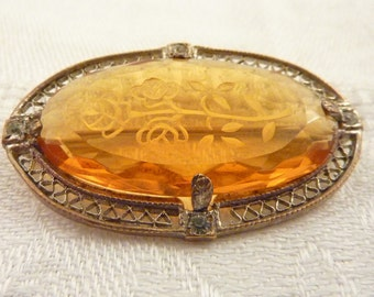 Antique Deco Etched Amber Glass Silvertone Filigree