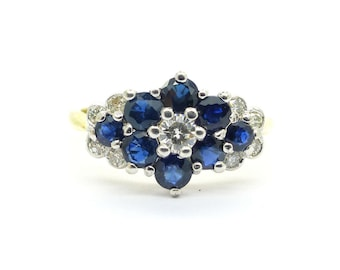 Vintage Engagement ring Sapphire diamond Flower cluster ring 18ct/18K Mid Century English Anniversary Special brithday ring *FREE SHIPPING