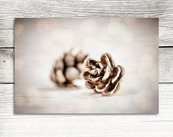 Pine Cone Photo, Dreamy Gold Autumn Décor Print, Pine Cone Photograph, Neutral Warm Browns and Gold Colors, Rustic Decor, Pinecone Artwork