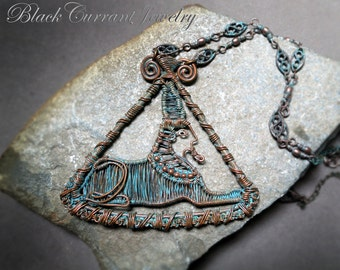 Egyptian Sphinx Necklace - wire-wrapped - copper, patina