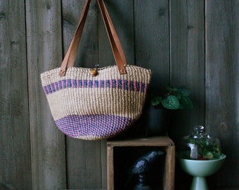 Woven Market Bag Woven Purse Bohemian Fashion Jute Purple Pink Tan With Leather Straps Vintage From Nowvintage on Etsy