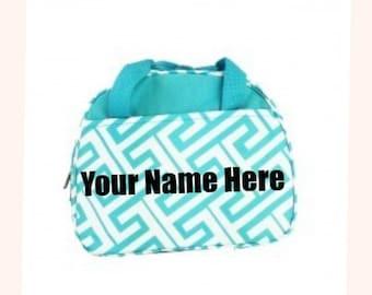 Personalized Aqua Greek Key Lunch Box