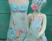 Mother/Daughter Matching Aprons - Blue Shabby Chic Matching Aprons - Spring Aprons